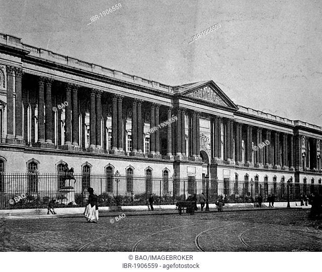Early autotype of the Louvre Palace, Paris, France, 1880