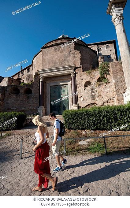 Italy, Lazio, Rome, the Forum, The Temple of Romulus, The basilica of Santi Cosma e Damiano