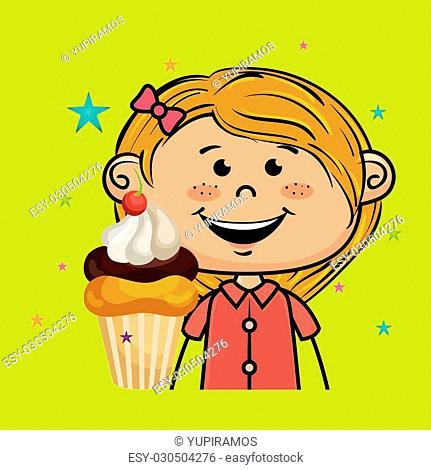 girl cup cake dessert vector illustration graphic