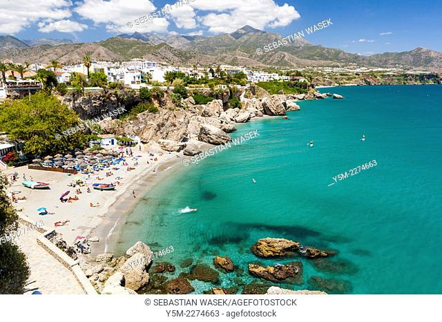 View of Playa Calahonda from the Balcon de Europa (Balcony of Europe), Nerja, Costa del Sol, Malaga province, Andalusia, Spain, Europe