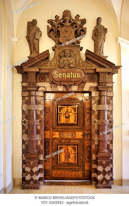 Prague Czech Republic. The entrance to the old senatus inside Old Town Hall