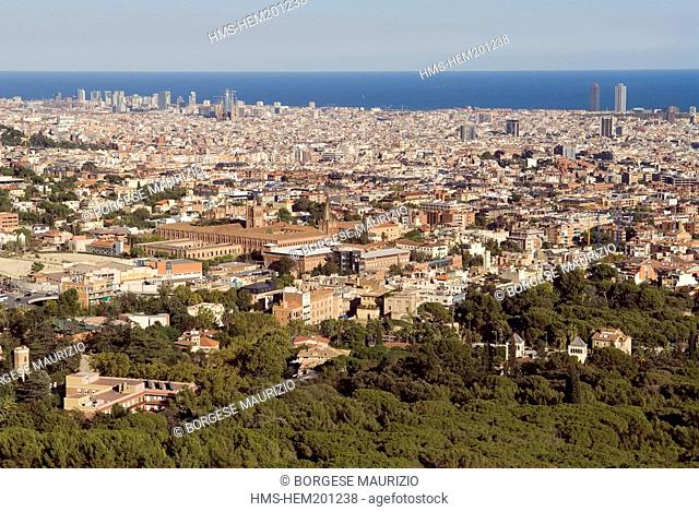 Spain, Catalonia, Barcelona, the town seen from Collserola park