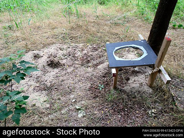 26 June 2020, Brandenburg, Spremberg: An improvised toilet in the forest on the bank of the dam. Photo: Soeren Stache/dpa-Zentralbild/ZB