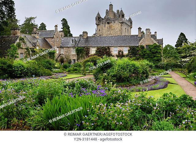 The formal Flower Garden south of Cawdor Castle after a rain in Cawdor Nairn Scotland UK