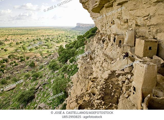 Dogon Country. Mali. Ende Village.In the escarpment's rock face can be seen some ruined adobe granaries of Tellem people