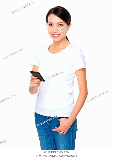 Asian young woman using cellphone for text mesage