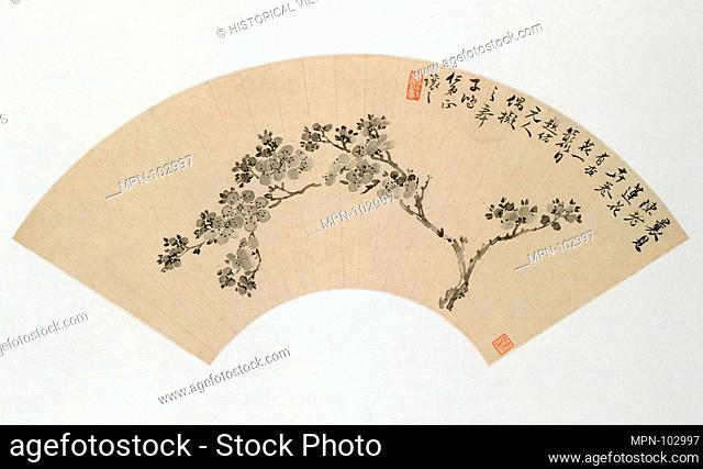 Apricot. Artist: Wu Xizai (Chinese, 1799-1870); Period: Qing dynasty (1644-1911); Date: 19th century; Culture: China; Medium: Folding fan mounted as an album...
