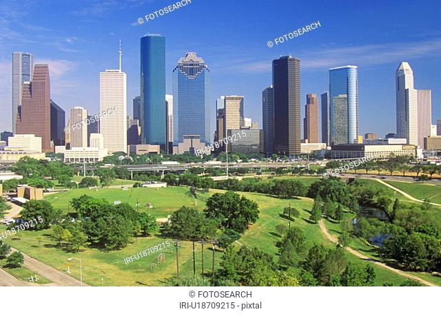 Houston skyline in the afternoon with Memorial Park in foreground