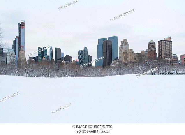 City skyline and snowy urban park