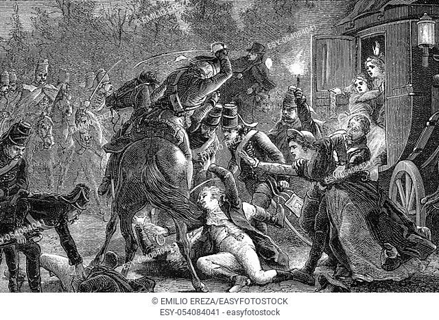 Assassination of the French plenipotentiaries. Rastadt, 28th April 1799. French revolutionary wars. Antique illustration. 1890