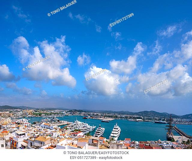 Ibiza Eivissa skyline from Dalt Vila in Balearic Islands
