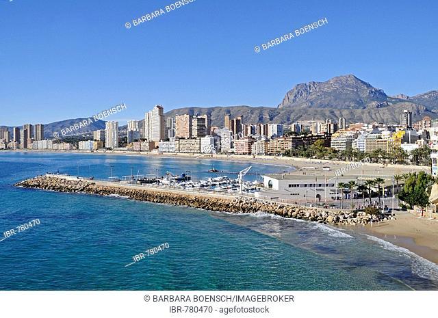 Breakwater protecting marina at the Playa de Poniente Beach, Benidorm, Alicante, Costa Blanca, Spain