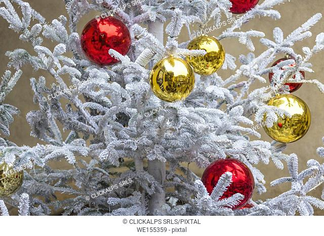 The gold and red Christmas Bauble as ornaments and decorations Kaysersberg Haut-Rhin department Alsace France Europe
