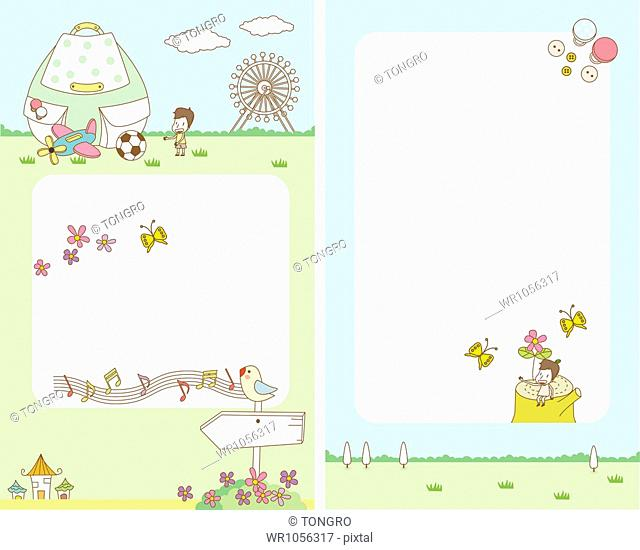 illustration of card template featuring picnic concept