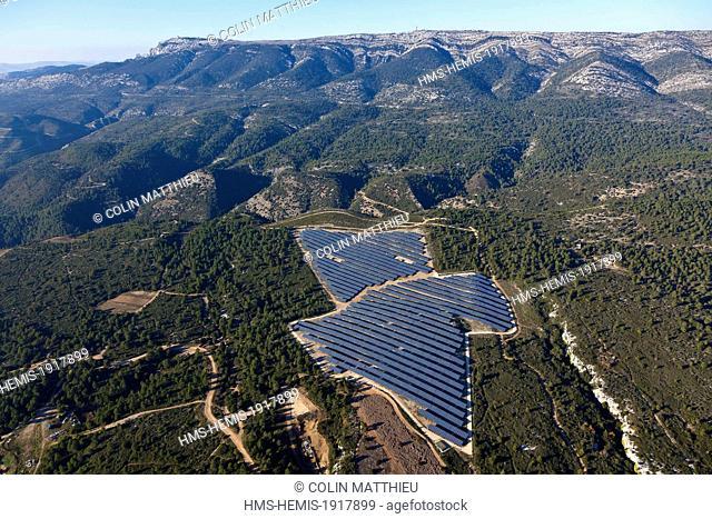 France, Bouches du Rhone, the Sainte Baume massif, central solar photovoltaic (aerial view)