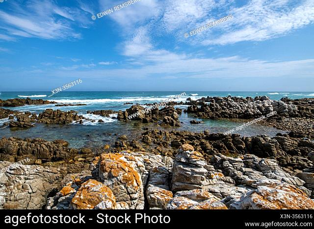 Cape Agulhas, the geographic southern tip of the African continent and the beginning of the dividing line between the Atlantic and Indian Oceans, South Africa