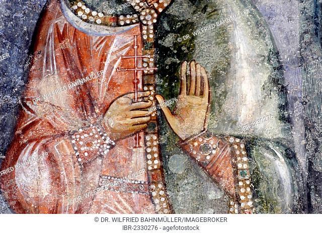 Presumably St. Paraskeva, Pyatnitsa, fresco in the Crusader Church, Benedictine Abbey, Abbaye Sainte Marie de la Resurrection, Abu Gosh, Emmaus, Israel
