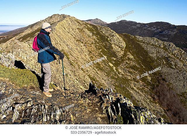 Mountaineer in Tiñosa cliff. Sierra Norte. Guadalajara. Castilla la Mancha. Spain. Europe