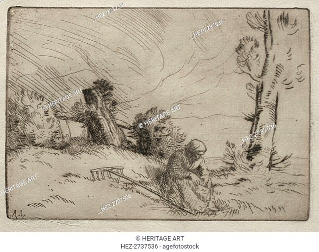 Peasant Woman Seated near a Hedge. Creator: Alphonse Legros (French, 1837-1911)