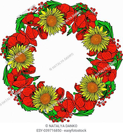 wreath of red blossoming poppies, yellow sunflowers and green leaves isolated on white background