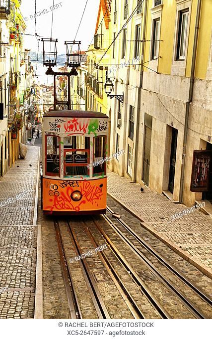The Bica Funicular, Lisbon, Portugal, Europe