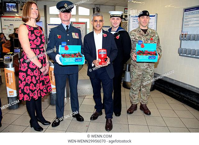 The Mayor of London Sadiq Khan meets personnel from the British Armed forces selling poppies at Leyton Underground Station to help raise awareness of The Royal...