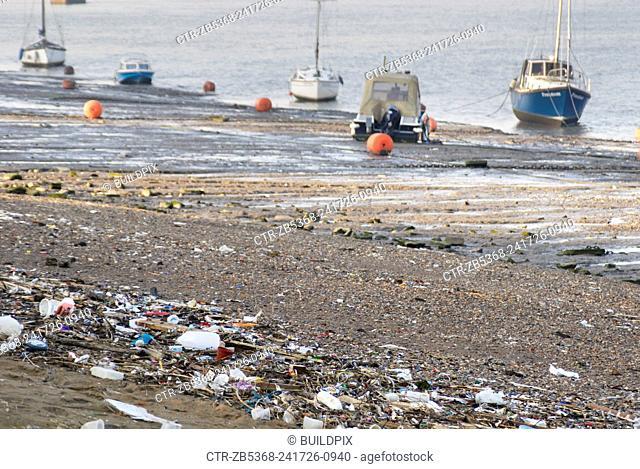 Litter on banks of Thames estuary
