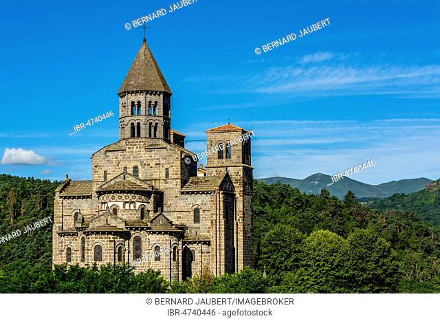 Romanesque church of Saint Nectaire, Auvergne Volcanoes Regional Nature Park, Puy de Dome department, Auvergne Rhone Alpes, France