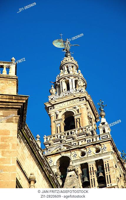 bell tower of giralda cathedral at sevilla, spain