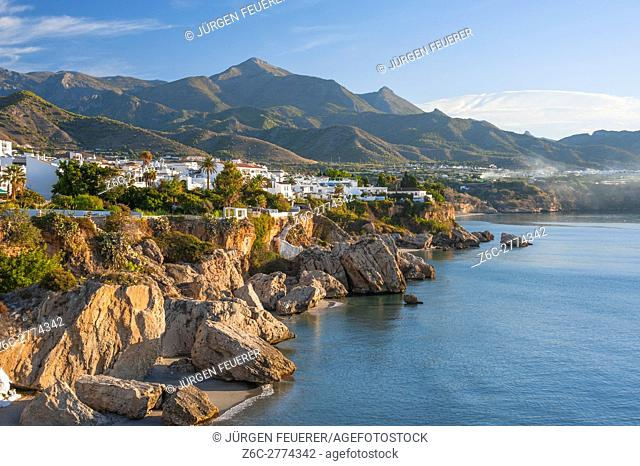village Nerja, mountains and coast at the Costa del Sol, province of Málaga, Andalusia, Spain