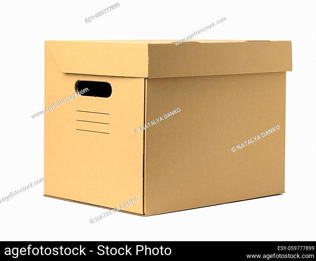 brown corrugated paper box with lid for documents on a white background. Container for moving