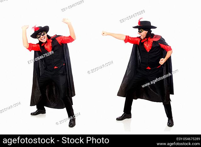 The young man in carnival coat isolated on white