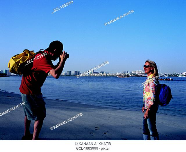 Western tourists at the creek in Dubai, United Arab Emirates