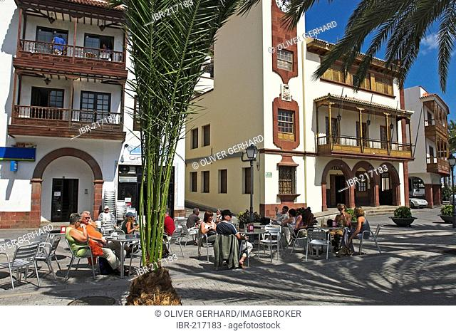 Cafe in the capital San Sebastian, La Gomera Island, Canary Islands, Spain, Europe