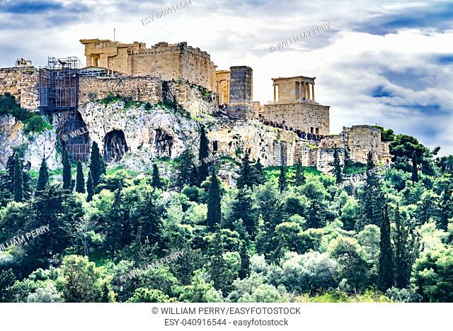 Acopolis Green Trees Hill fromm Agora Temple of Athena Nike Propylaea Athens Greece Construction ended in 432 BC