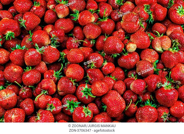 Close up of a group of fresh, succulent strawberries