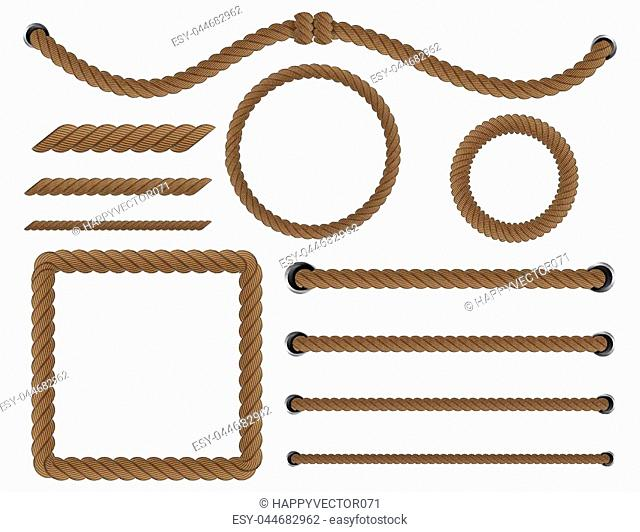 Creative vector illustration of realistic nautical twisted rope knots, loops for decoration and covering isolated on transparent background