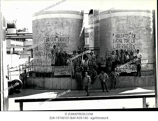 Jan. 01, 1974 - Photo shows Workers outside the Avellaneda factory, down town Buenos Aires, demonstrate for better working conditions versus The factory...