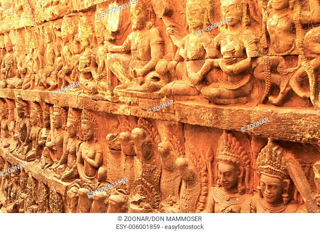 Decorative wall carving, Terrace of the Leper King