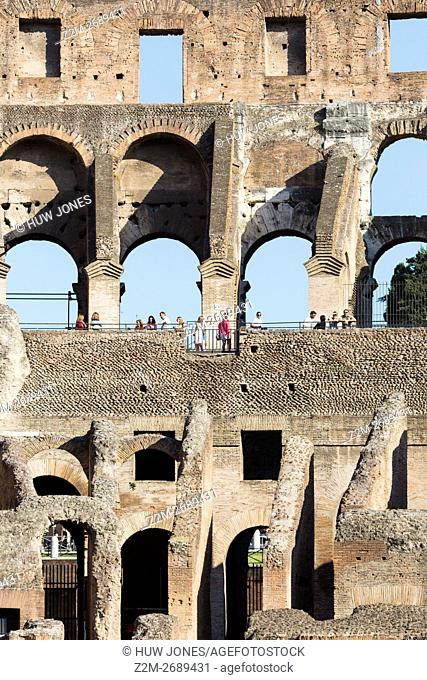 Architectural detail of The Colosseum, Rome, Italy, Europe