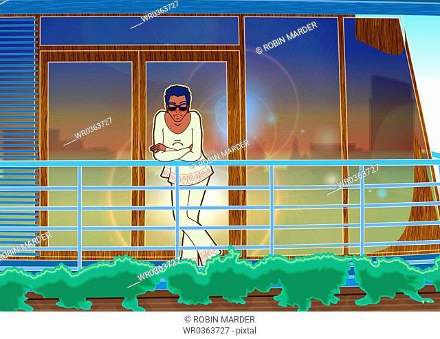 African American Woman on Balcony