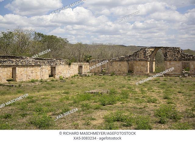 Mayan Ruins, Southeast Plaza, Oxkintok Archaeological Zone, 300 -1, 050 AD, Yucatan, Mexico