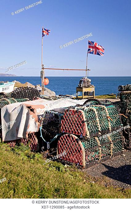 England Devon Beesands Lobster pots and Union Jack flags