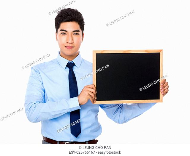 Businessman show with chalkboard