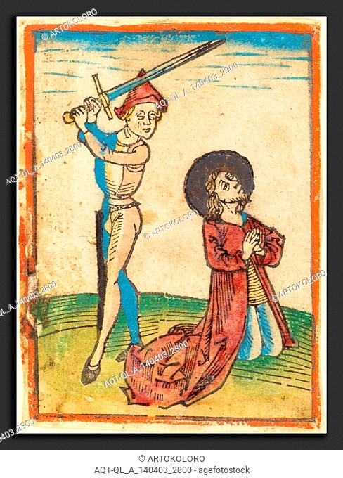 German 15th Century, Martyrdom of a Saint, c. 1480, woodcut, hand-colored in red lake, green, yellow, blue, rose, gold, and orange