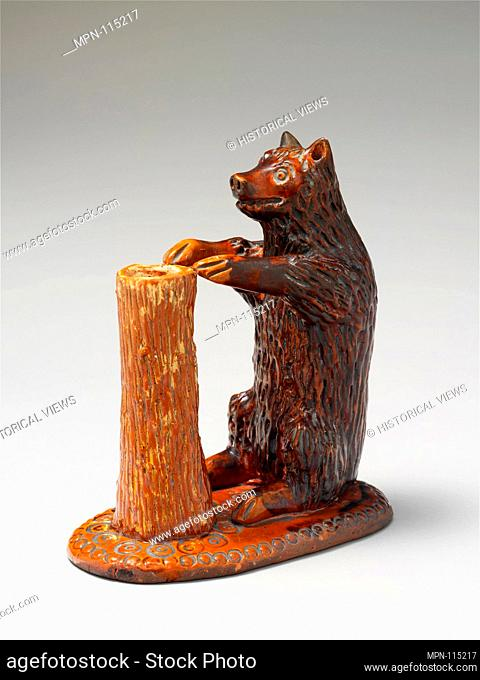 Bear figure and spill holder. Maker: Possibly Parker Pottery; Date: ca. 1850-75; Geography: Made in Montour County, Pennsylvania