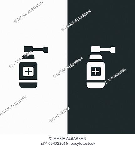 Ear spray icon. Flat pharmacy and medicine vector illustration