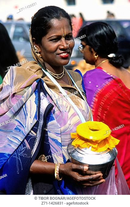 Malaysia, Penang, Thaipusam, Hindu, religious, festival, people, woman, portrait, offerings