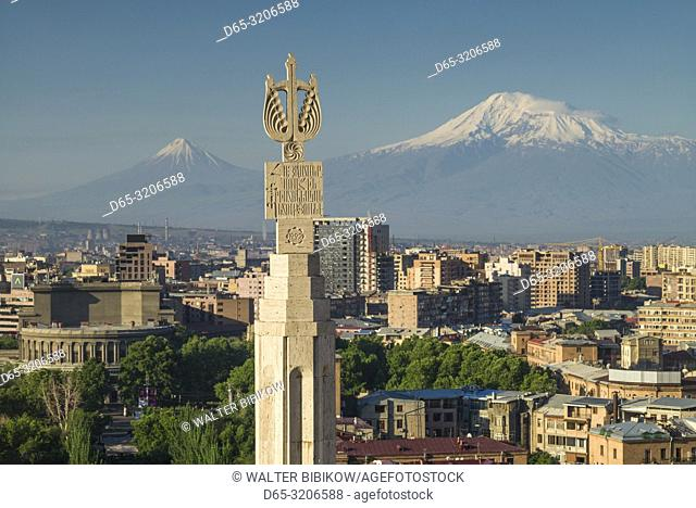 Armenia, Yerevan, The Cascade, high angle view of the city and Mt. Ararat, dawn