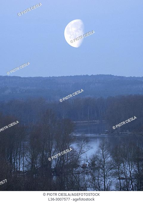 Poland. Early spring. Moonset on Bug river. Podlasie region